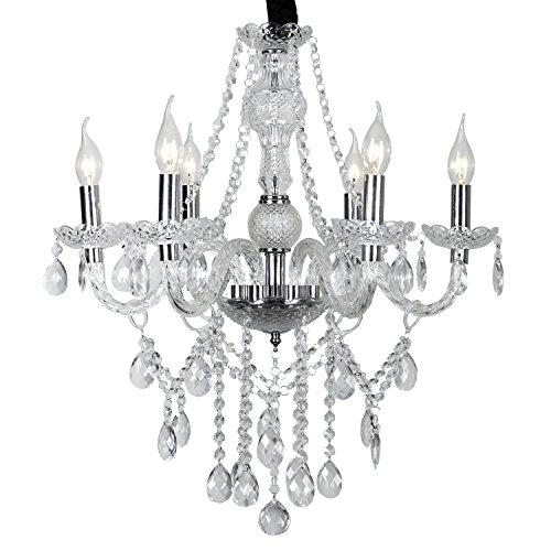 6 flammig Transparent Kristall Klassisch Kronleuchter Pendelleuchte Deckenleuchte antik Kristall Lüster E14 Hängeleuchte
