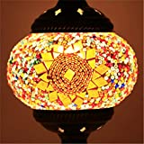 MWPO Lampada a Sospensione in Vetro colorato Lampada a Mano in Vetro Macchiato Marocchino Lampada a Sospensione a Sfera in Vetro Bar da Cucina Lampade a Mosaico turche Borgogna