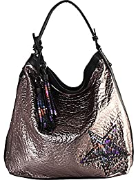 Rimen & Co. PU Leather Metallic Color Star & Tassels Dcor Hobo Handbag KY-6488