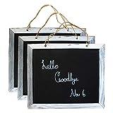 Mini Kreidetafel (3er Set)- Shabby Chic Hölzern Tafel Wandtafel (B23,5cmXH20cm) Schiefertafel mit Vintage Jutekordel zum Aufhängen - Memoboard - Schreibtafel für Hochzeits-Schilder, Restaurant