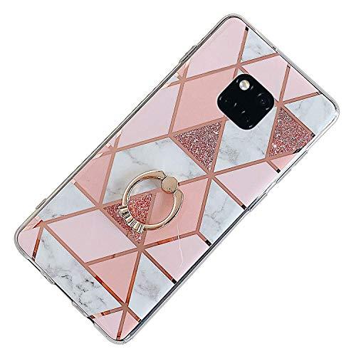 Herbests Kompatibel mit Huawei Mate 20 Pro Hülle Bunt Marmor Muster TPU Silikon Handyhülle Glänzend Bling Glitzer Diamant Strass Ring Halter Ständer Crystal Case Tasche Schutzhülle,Rosa