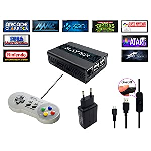 Konsole Retro PlayBox, Emulator und Media Center – HDMI – SNES, Megadrive, Sega, Nintendo, Mame, FBA, Kodi, Raspberry PI3