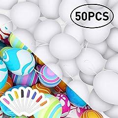 Idea Regalo - RenFox 50 Pezzi di Pasqua Bianche Decorazioni pasquali, Uova di Pasqua in plastica & Non tossico & Prevenire la Rottura & 8 Penna Acquerello,Regalo di Pasqua per Bambini (Bianco)