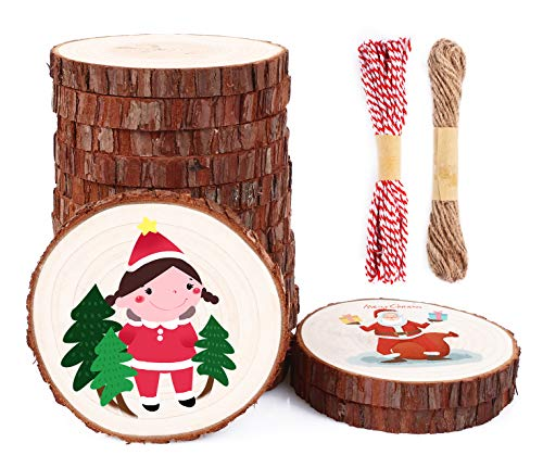 Soledi legno 15 pezzi diametro 11-12cm dischi legno naturale liscia - adatti per segnaposto,portachiavi,pirografo,intagliare,disegnare e decorazione di matrimonio,ornamento di natalizi