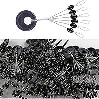 EisEyen Stopper Float Space Bean Connector - Filo da Pesca, 600 Pezzi, 100 Gruppi/Set, Colore: Nero Ellipse M