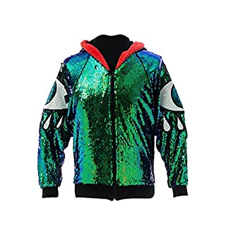 ASVP Shop Iridescent All Seeing Evil Eye Sequin Jacket Hoodie Mermaid Magic Vintage, Ibiza, Festival, Punk EDM, Plur