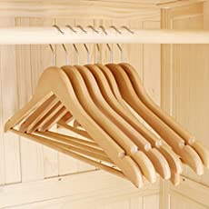 Ivaan™ Pack of 12 Heavy Duty Wooden Cloth Hangers- Brown