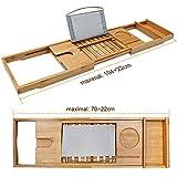 Unuber Bambus Badewannenablage ausziehbar mit Weinglas-Halterung und iPad-Buch-Ablage, 70-104 x 6,4 x 23,6 cm (B x H x T) - 4
