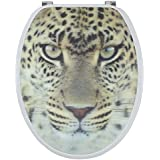 Sanwood by Nicol 6096137Leopard 3D Abattant de WC en panneau MDF avec noyau en bois, charnières en acier inoxydable