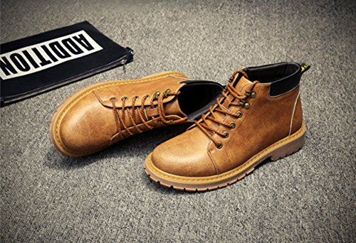 2017 Hommes Martin Bottes En Cuir Véritable Outillage Rétro Chaussures Office Career Automne Sports Dhiver Occasionnels yellow