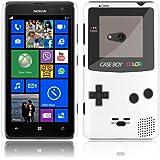 Etui de créateur pour Nokia Lumia 625 - Etui / Coque / Housse de protection blanc en Plastique Rigide (arrière rigide) avec motif cool gameboy couleur