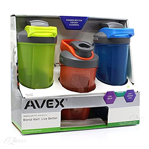 Avex Shake & Go Fit Mixer Bottle - (Electric Green/Apricot/Electric Blue) by Avex