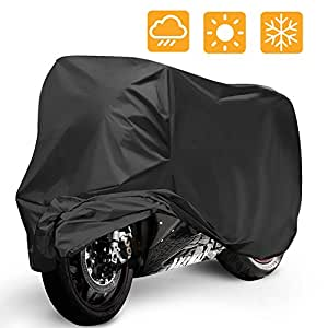Telo Coprimoto Impermeabile, Mopalwin Teli per moto antipolvere, anti UV, traspirante, per esterni, con sacca per il trasporto Nero -265*105*125cm XXL