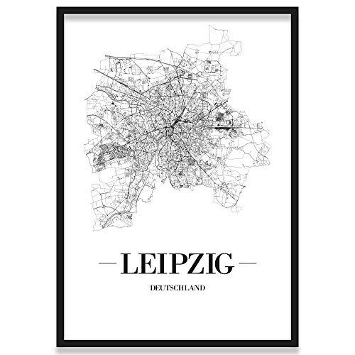 JUNIWORDS Stadtposter, Leipzig, Wähle eine Größe, 40 x 60 cm, Poster mit Rahmen, Schrift A, Weiß