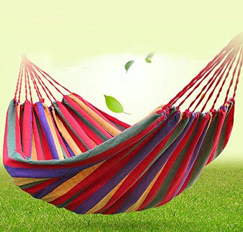 Signstek Outdoor Garten-Leinwand Hängematte Reisen Camping 190 * 150cm für Doppel Zwei Person (Rot)