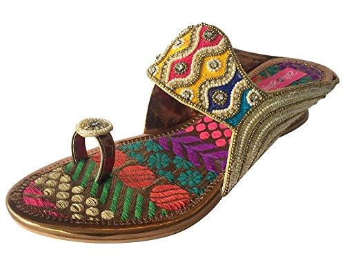 Frauen ethnischen indischen Schuhe Perlen Schuh Braut Schuhe Party Schuhe jutti Mehrfarbig