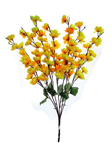 Fourwalls Artificial Peach Blossom Flower Bunch (7 Branches, Yellow)