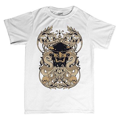 seppuku harakiri Samurai Ninja Asia | T-Shirt | Größe XS-4XL | Ideales Geschenk (XXXXL, Weiß) (Edo-katana)