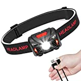 USB Rechargeable LED Head Torch Headlamp Headlight Super Bright Waterproof Lightweight Comfortable for Running Fishing Camping Hiking Kids