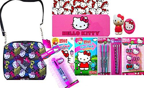 Hello Kitty Back to School Kinder Geldbörse Kosmetiktasche klein mit Kunst und Handwerk Bleistifte, Kugelschreiber, Radierer und Play-Packs auf der Go Fun. BLACK CHAINED HELLO KITTY -