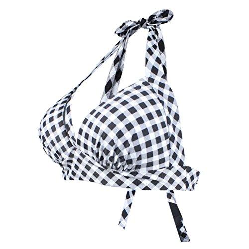 YoungSoul Damen Vintage 50er Rockabilly Kariert Bademode Push Up gerüschtes Neckholder Bikinioberteile für Damen Schwarz Kariert