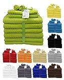 Handtuch Badetuch Gästetuch Waschlappen Duschtuch Badvorleger Handtücher Set 10 tlg.500 g/m² in Farbe:Apfelgrün