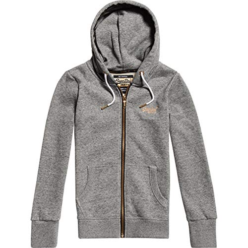 Superdry Damen Zipper ORANGE Label Elite Wolf Grey Marl, Größe:M