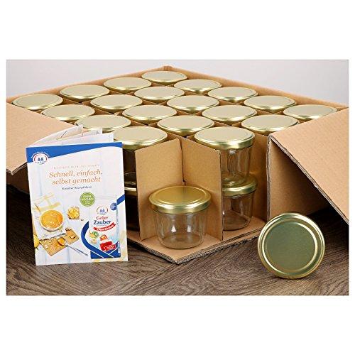 40er Set Sturzgläser 230 ml mit goldenem Deckel To 82 inkl. Diamant Gelierzauber Rezeptheft Marmeladengläser Einmachgläser Einweckgläser