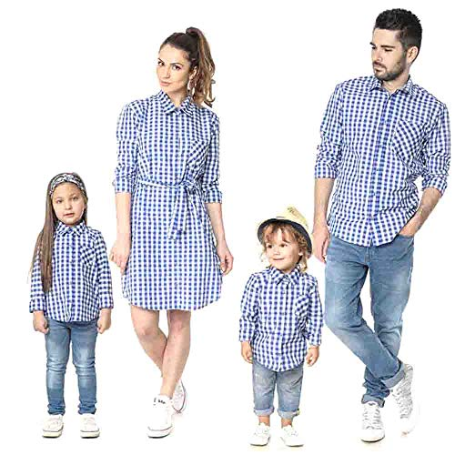 douleway Familia papá mamá Hija Hijo a Cuadros Camiseta del bebé de