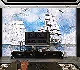 HD Mural Papier Peint Trois Mât Barque Mer Art Stickers Muraux Non-tissé Seamless Wallpaper Maison Déco pour Salon Chambre