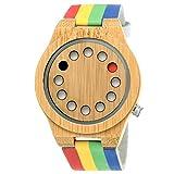 Handgefertigte Holzwerk Germany® Designer Unisex Damen-Uhr Herren-Uhr Öko Natur Holz-Uhr Leder Armband-Uhr Analog Klassisch Quarz-Uhr Future Edition Bunt Grün Blau Rot Gelb