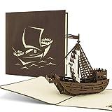 Originelle Schiffskarte mit Kogge, maritim, Geburtstagskarte B09