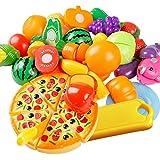 Vococal - 24 piezas Mini Utensilios de Cocina Pizza Frutas Verduras Plástico / Set de Finja Juego Comida Educativa Juguetes Juego de Comida para Niños