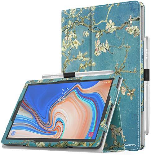 """MoKo Cover per Samsung Galaxy Tab S4 10.5"""", Custodia Pieghevole, a Piedi Supporto, con Funzione Auto Sveglia/Sonno, con Anello per Penna, per Samsung Galaxy Tab S4 10.5"""" - Albicocchi in Fiore"""