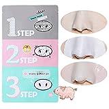 Mascarilla para nariz de cerdo para eliminar el acné de cabeza negra y transparente, kit de 3 pasos, belleza, limpieza facial, cosméticos
