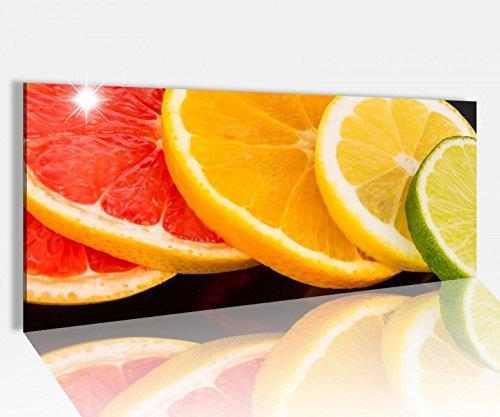 Acrylglasbild 100x40cm Orange Obst Scheiben Frucht Küche Zitrone Acrylbild Glasbild Acrylglas Acrylglasbilder 14A1504, Acrylglas Größe1:100cmx40cm