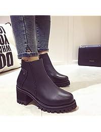 &ZHOU Botas otoño y del invierno botas cortas mujeres adultas 'Martin botas botas Knight A5-4 , black , 38