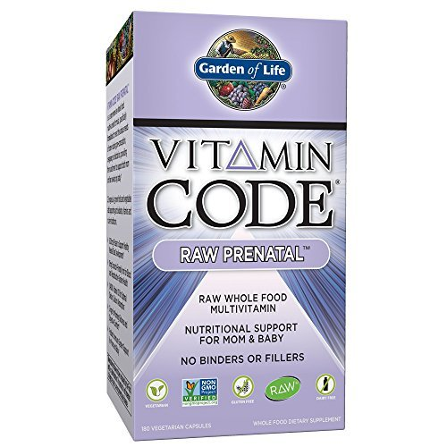 Garden of Life Vegetarian Prenatal Multivitamin Supplement – Vitamin Code Raw Prenatal Whole Food Vitamin for Mom and Baby, 180 Capsules