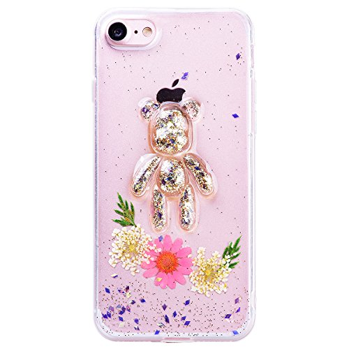 WE LOVE CASE iPhone 7 Plus Cover Fiore Vero e Orso Trasparente Glitter iPhone 7 Plus 5,5 Custodia Verde Case Silicone Soft Flessibile Elegant Belle Protettiva , Antiurto Ultraslim Bumper , TPU Gel Go Pink