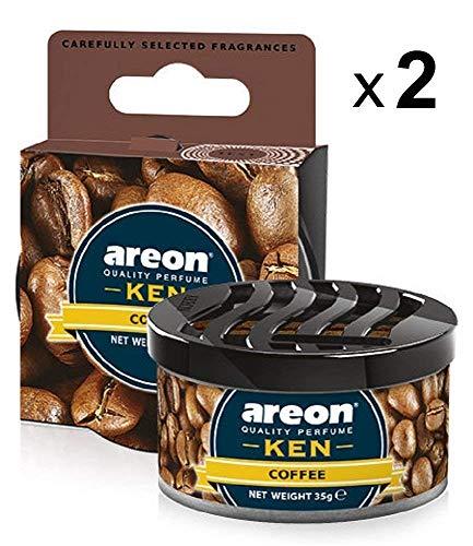 Areon Ken Lufterfrischer Dose Auto Kaffee Autoduft Duft Duftdose Wohnung Erfrischer 3D Set ( Coffee Pack x 2 )
