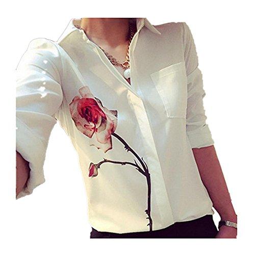 CYBERRY.M Femme Dentelle Longues Manches Rosa Imprimé Chemise T-shirt Blouse Top Tank Blanc
