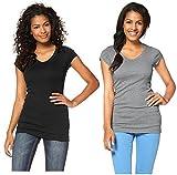Flashlights Damen V T-Shirt (2er Pack) (36/38, Grau/Schwarz)