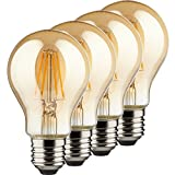MÜLLER-LICHT 4er-Set Retro-LED Lampe, Birnenform E27 mit innovativer Filament-Technologie und super warmweißem Licht für eine angenehme Atmosphäre, Glas, 4W, Gold