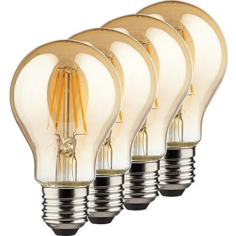 MÜLLER-LICHT 400175 A++, 4er-Set Retro-LED Lampe Birnenform ersetzt 36 W, Glas, E27, gold, 6.0 x 6.0 x 10.6 cm