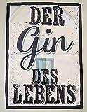 Tinas Collection Geschirrtücher Set Gin 3tlg. aus 3 Tüchern 50 x 70 cm aus Hochwertigen Polar Fleece, lustiges Geschirrtuch mit Spruch (Türkis Weiß)
