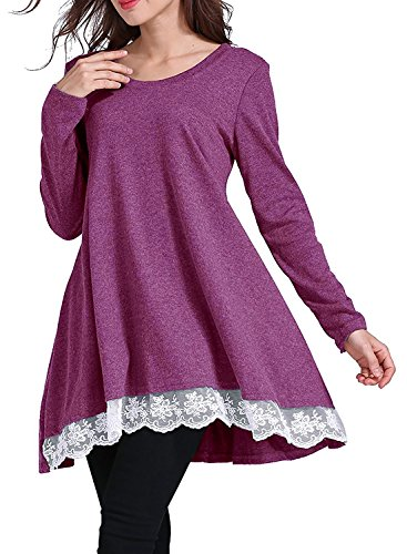 Kinikiss Damen Langarmshirt Elegantes Lose Casual Einfarbig Rundhals Spitze Spleißen Bluse Shirt Fuchsie