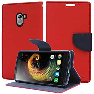 DMG Premium Drop Protection Wallet Case Flip Cover for Lenovo K4 Note (Red)