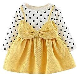 LANSKIRT Ropa para Recién Nacido Infantil bebé niñas Lunares de Manga Larga bebé Vestido Arco Vestido de Princesa Otoño e Invierno