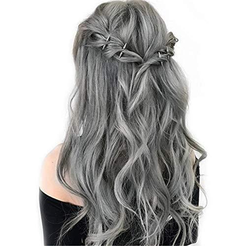 Damen Haar Perücken Haar lange lockige Perücken silberne Spitzefrontseite synthetische Perücken reizend natürliche Frisur hitzebeständige hohe Dichte für Cosplay Halloween 26 Zoll