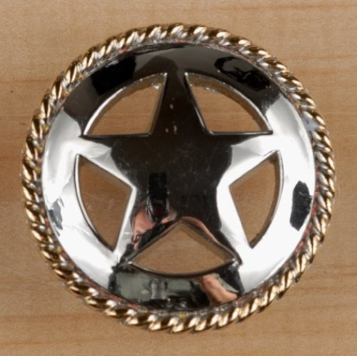 Set von 24Rustikal Seil Lone Star Schublade zieht Möbelknopf Western Southwest Decor Texas, Nickel Gold, 1 1/2